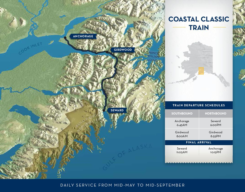 Alaska Railroad Travel Coastal Classic Train Route Map Anchorage