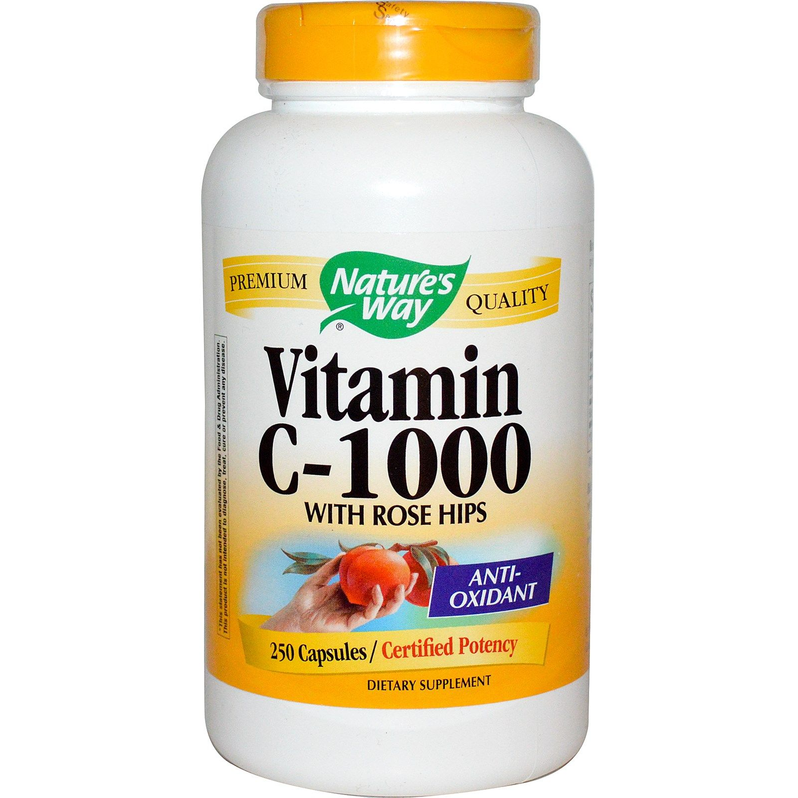 Nature's Way, Vitamin C with Rose Hips, 1,000 mg, 250
