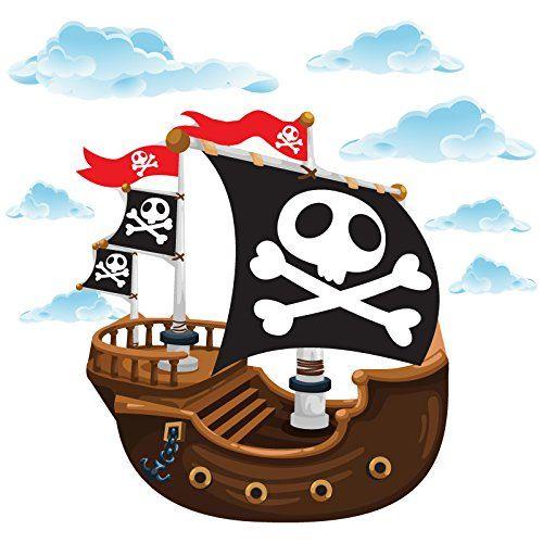 Piratenzimmer piraten piratenschiff wandtattoo for Piraten wandtattoo kinderzimmer