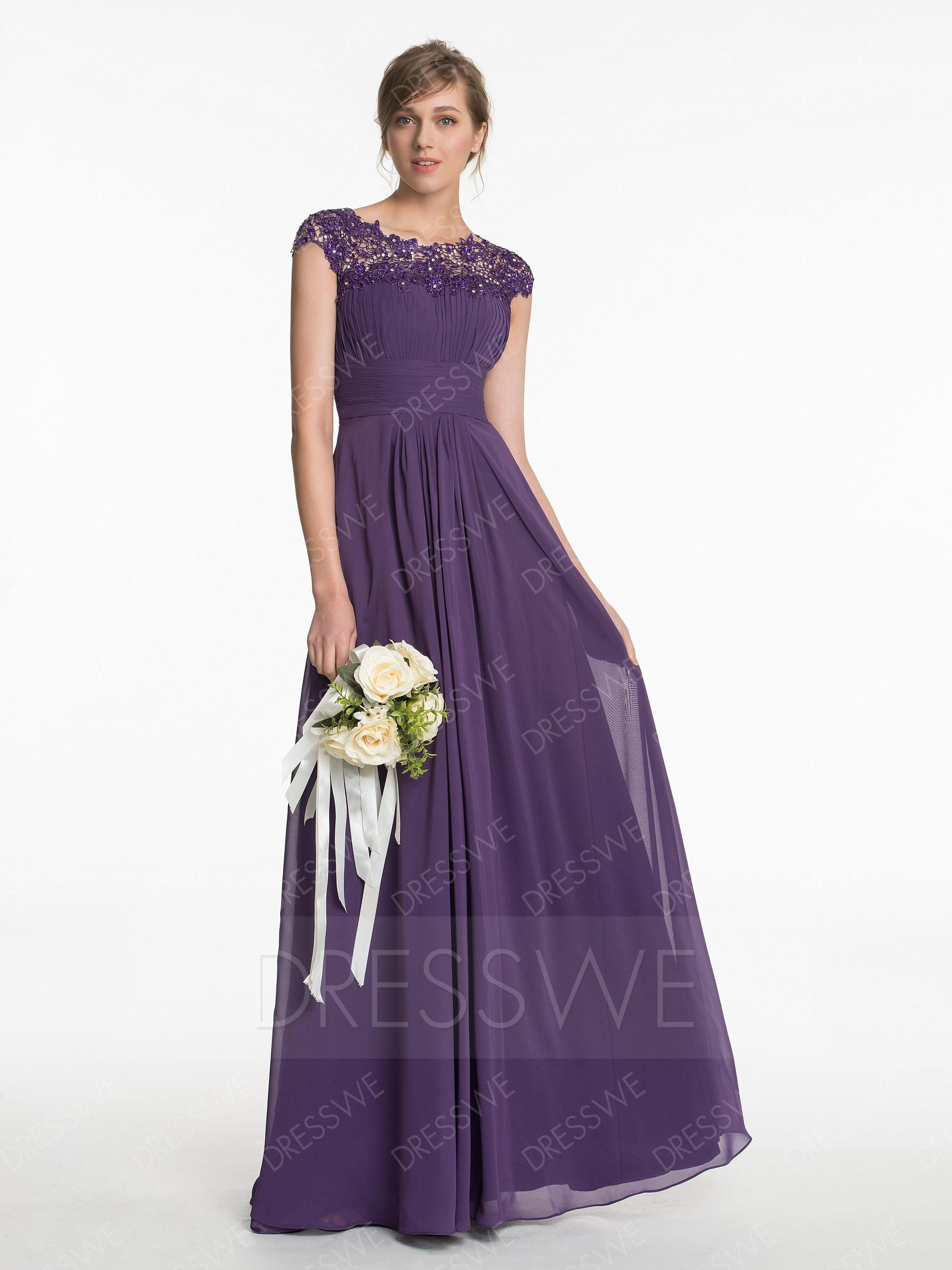 DressWe - DressWe Amazing Scoop Neck Lace A-Line Floor-Length ...