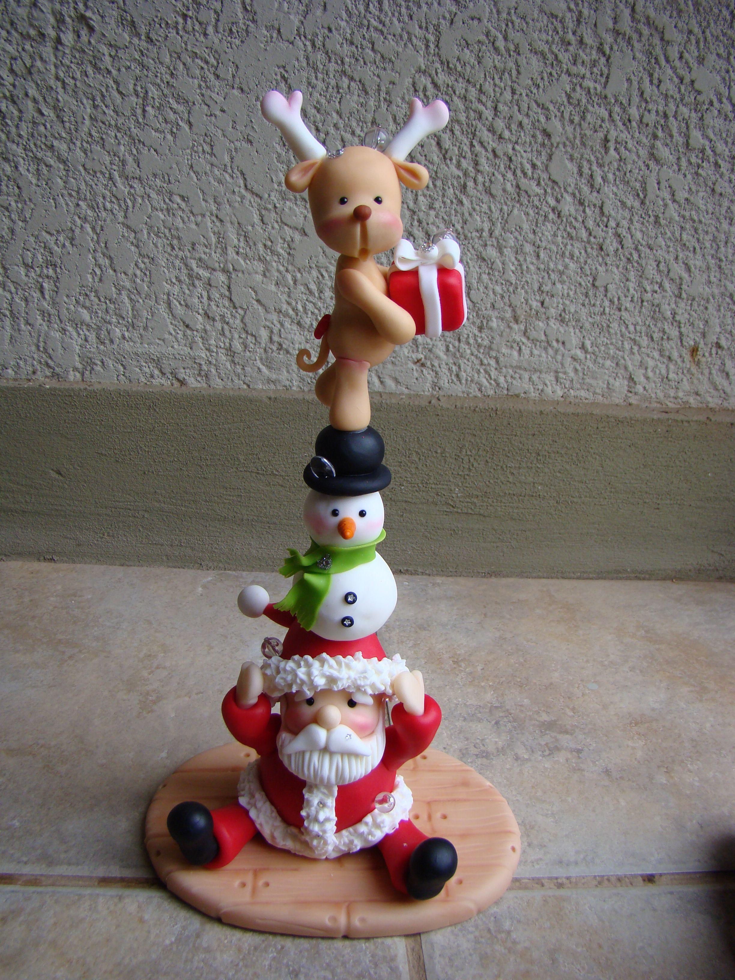 Manualidades Navidenas Con Arcilla.Totem Navideno Porcelana Fria Christmas Clay Porcelana