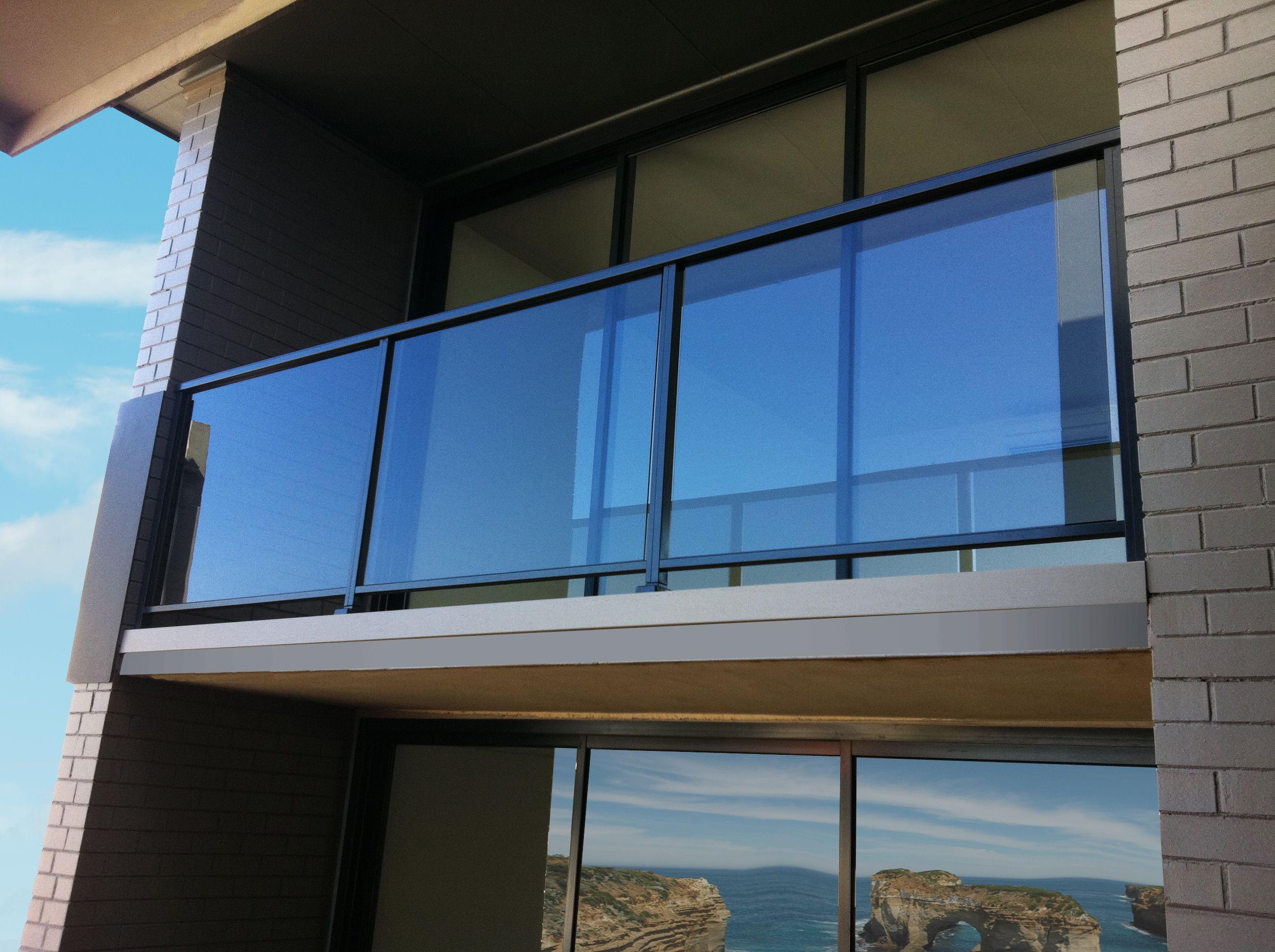 Semi frameless glass balustrade with powdercoated for Balcony window