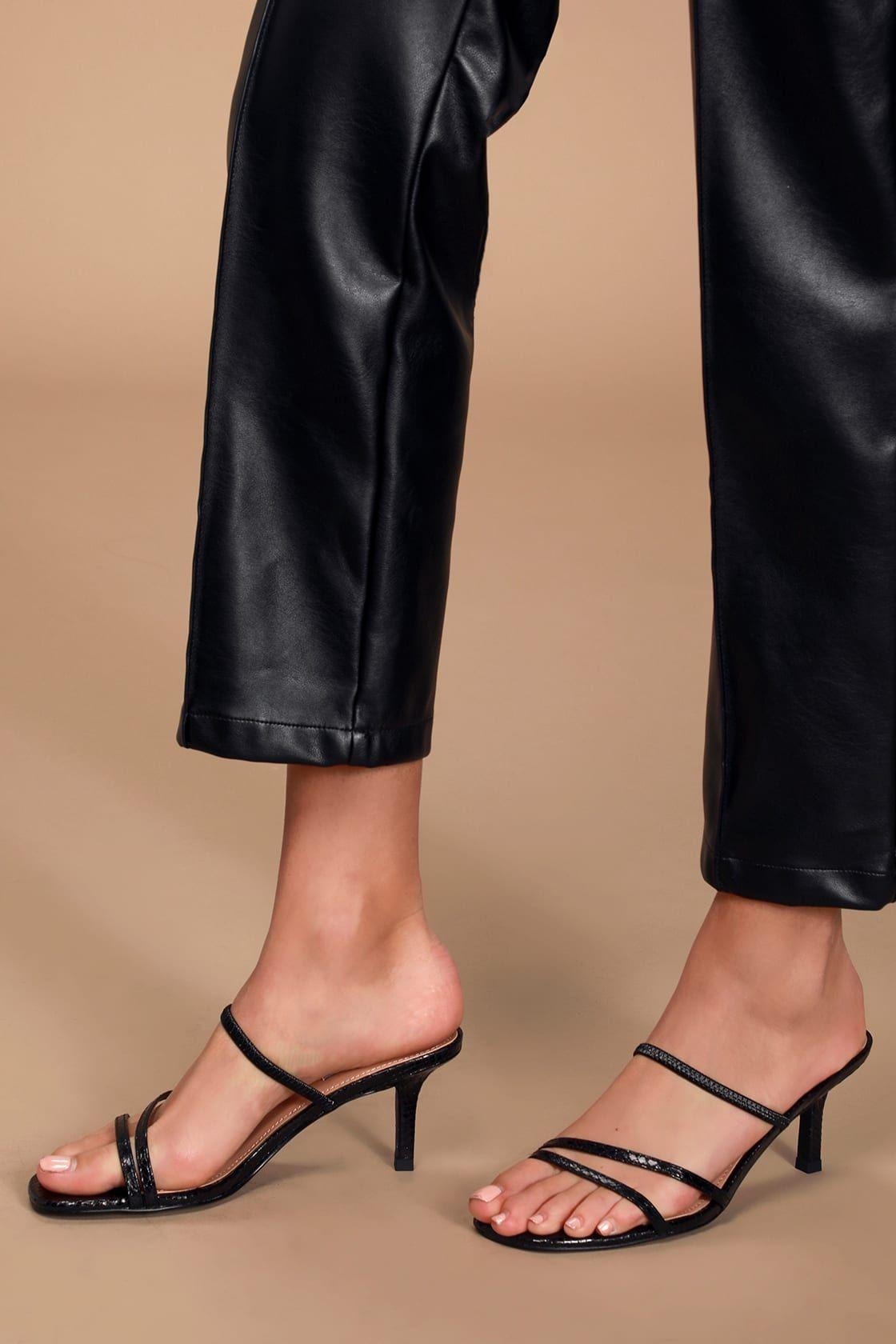 Loft Black Snake Strappy High Heel Sandals In 2020 Strappy High Heels Sandals Sandals Heels Strappy High Heels