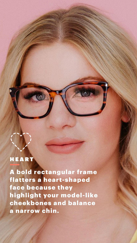 e7cae913fbe1 For Heart Face Shapes: Rectangular, Tortoiseshell Frames #faceshapehair