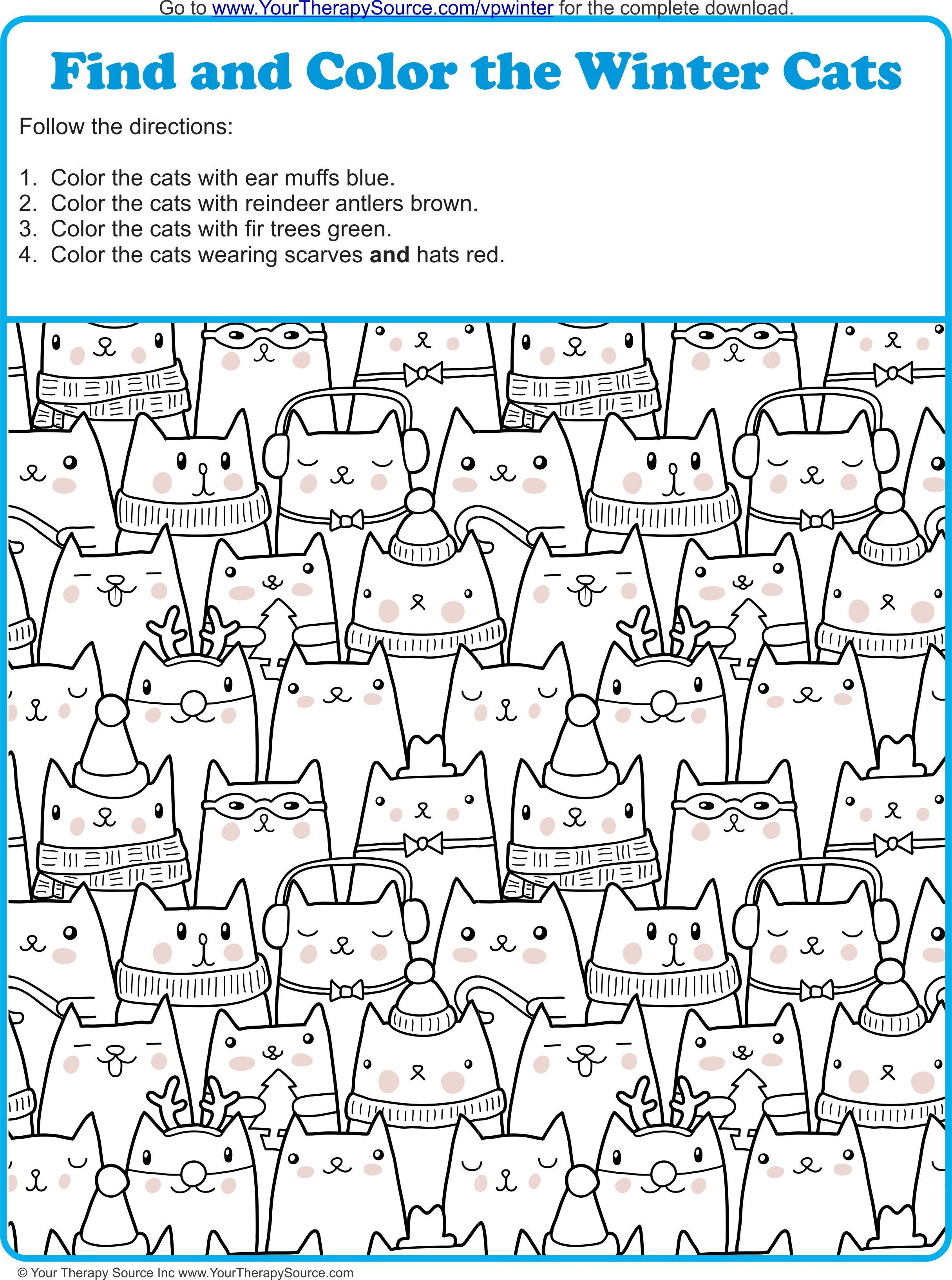 Find And Color The Winter Cats