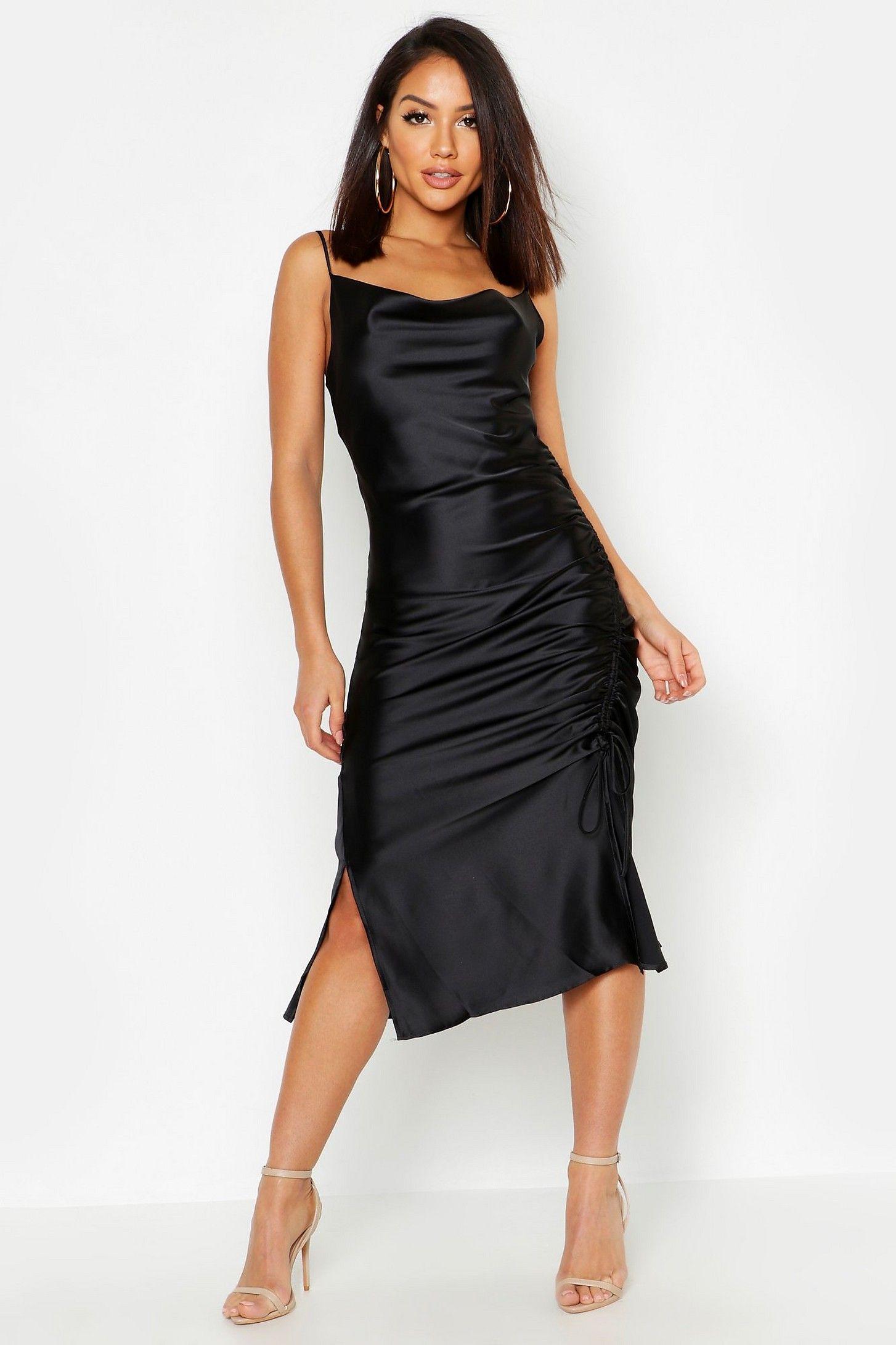 Satin Ruched Side Dress Boohoo In 2019 Dresses Dress