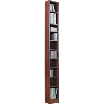 Maine Tall DVD and CD Media Storage Tower - Walnut Effect.