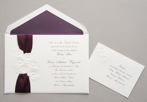 Wedding Invitations Feature An Ecru Invitation Card Is Stunning With An  Embossed Floral Pattern. There Are Die Cuts To Allow You To Lace Satin Ribbu2026