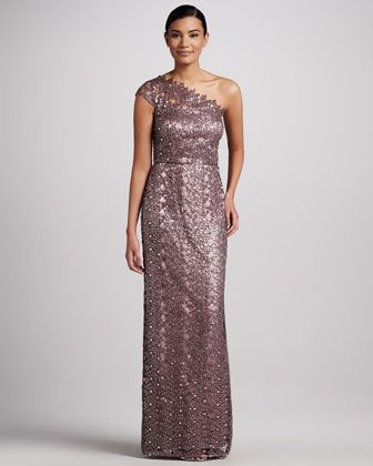 One-Shoulder Sequined & Lace Gown by Kay Unger New York at Neiman Marcus.