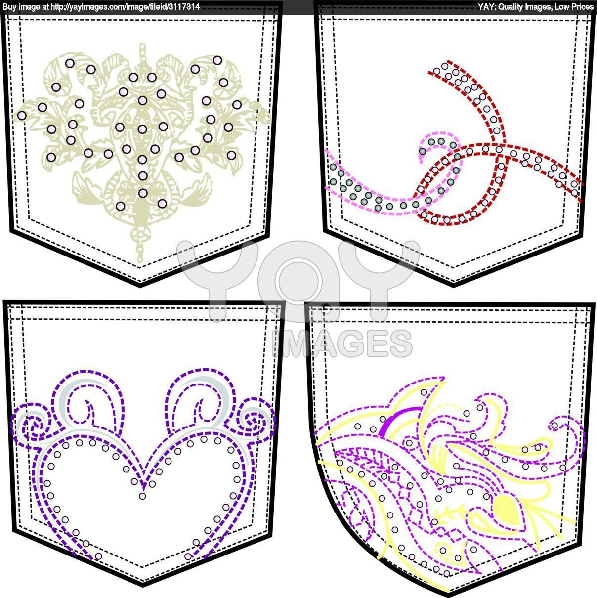 Free Rhinestone Template Downloads | back pockets with stitching and rhinestone