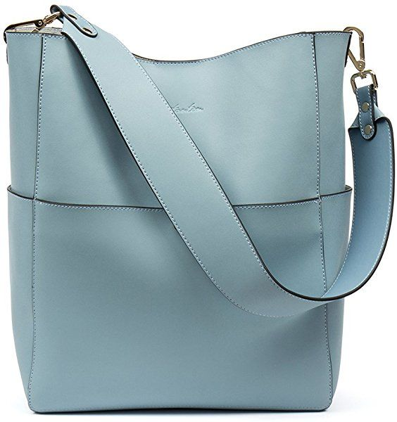 81d8baed8fda Amazon.com  BOSTANTEN Women s Leather Designer Handbags Tote Purses  Shoulder Bucket Bags Light Blue  Shoes
