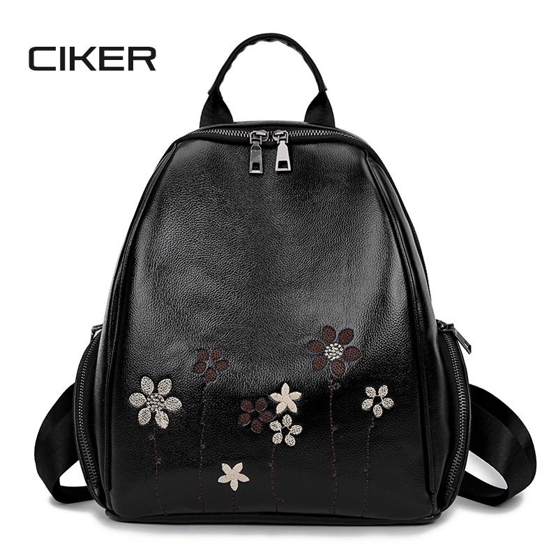 Find More Backpacks Information about CIKER Embroidery Flowers Backpack  Female Fashion School Bags For Teenager Girls High Quality PU Leather  Backpack 2017 ... 3fe3fac2b7