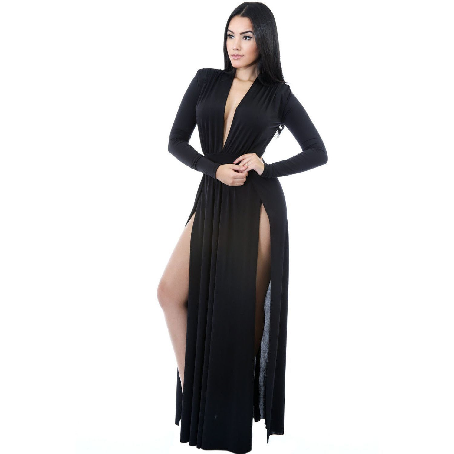 Black long sleeves long maxi dress laveliq products pinterest