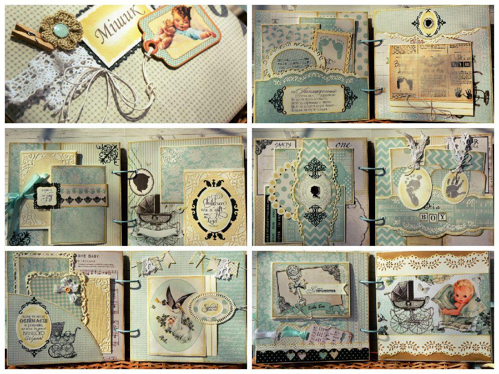 baby boy album #vintage #blue #scrapbookin #handmade