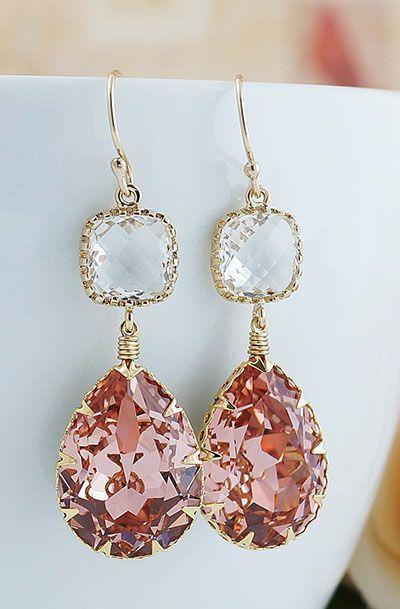 3ef841c1f Vintage Rose Peach Swarovski Crystal GOLD…   Lovely Things ...