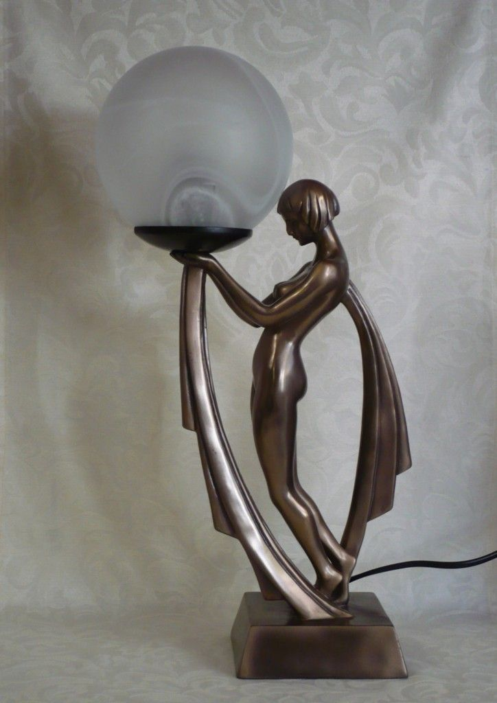 Art Deco Lady Lamp in Cold Cast Bronze