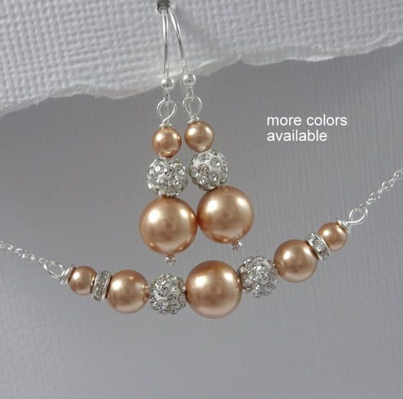 Gold Jewelry Set Swarovski Rose Gold Pearl Jewelry Rose Gold