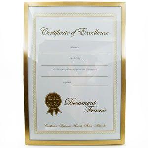 A4 Document Certificate Photo Frame Matt Gold Gold