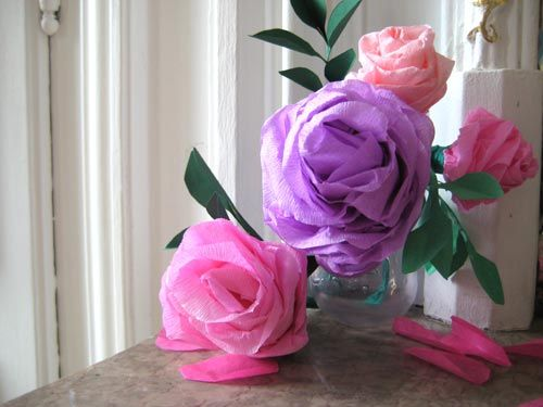 fleurs en papier crépon | papier crépon | pinterest | roses and videos
