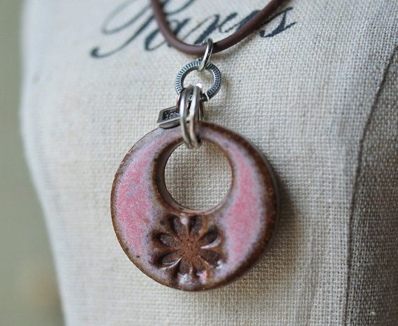 Ceramic pendant in Cactus Flower Pink glaze pink by Artgirl56
