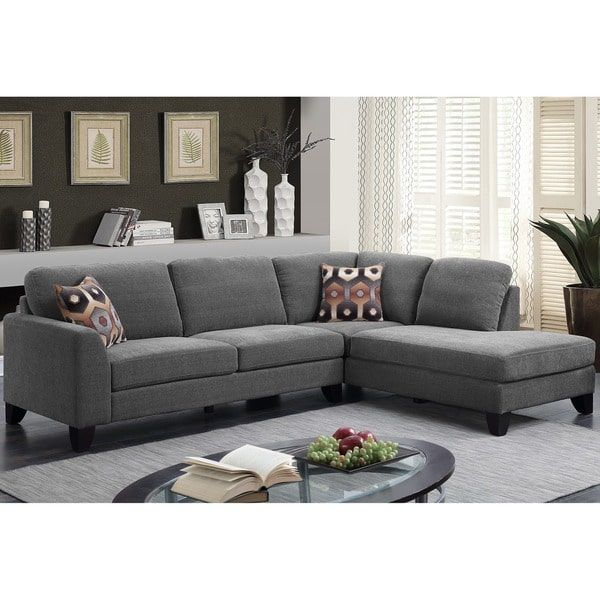Amazing Porter Monza Grey Chenille Sectional Sofa With Optional Machost Co Dining Chair Design Ideas Machostcouk