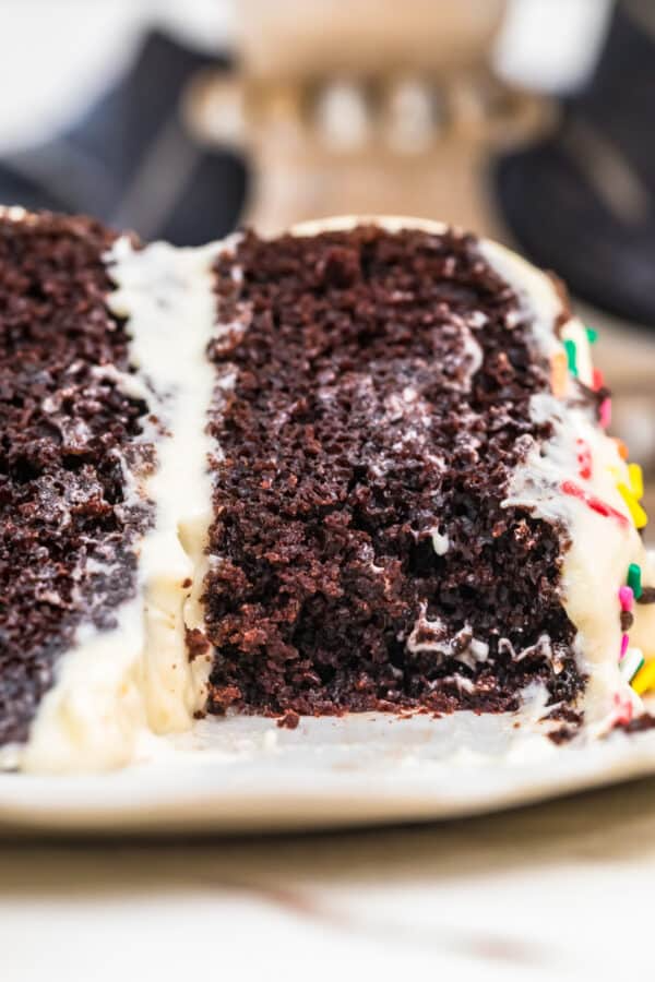 Magic Chocolate Cake With Best White Icing The Cookie Rookie In 2020 Magic Chocolate Cake White Frosting Recipes Buttermilk Chocolate Cake