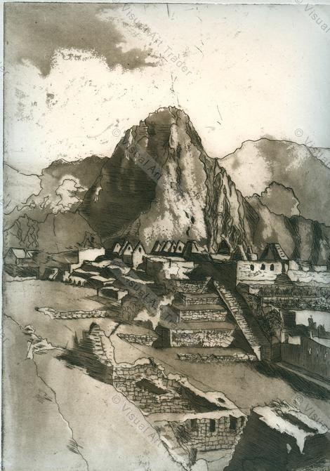 Machu Picchu (etching); by Jenny Massiah