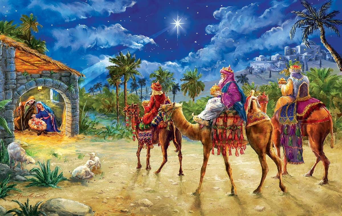 Journey Of The Magi 550 Pieces Sunsout Puzzle Warehouse In 2021 Painting Christmas Paintings Magi