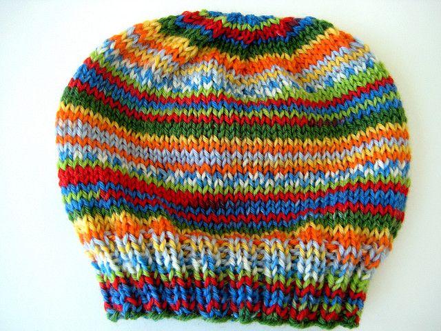 77dd83137ab gotta love self-striping yarn. child s self-striping hat. free pattern.