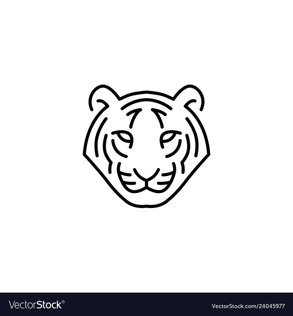 White Tiger Head Logo Icon Line Outline Tiger Outline Logo Outline Tiger Illustration