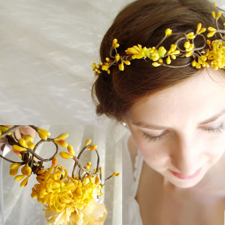 Autumn wedding hair crown pixie bridal yellow flower girl head yellow flower bridal crown google search mightylinksfo
