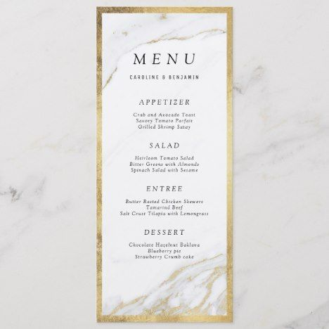 Faux gold foil marble luxury modern wedding menu | Zazzle.com #weddingmenuideas