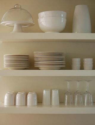 For The Wall Near Sunroom White Shelves To Display Serving Pieces And Favorite Bowls