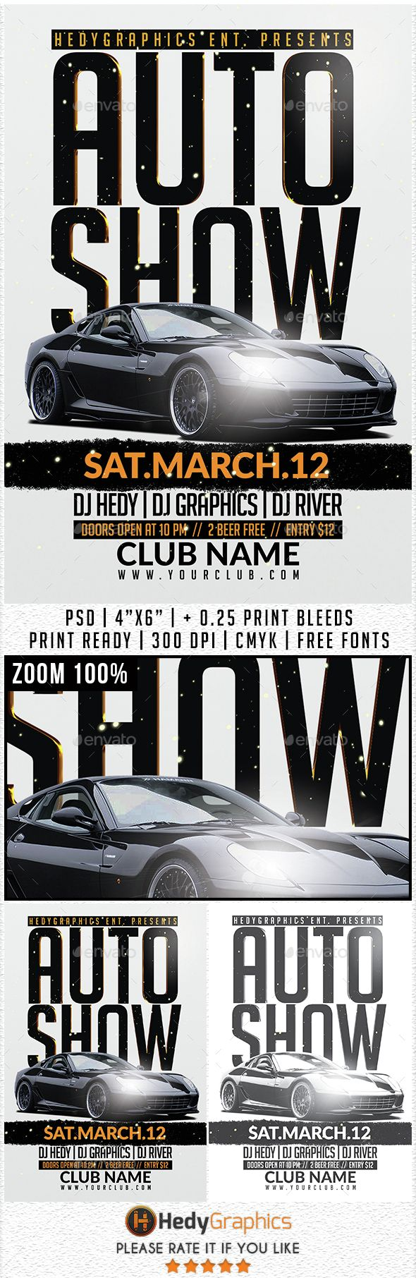 Auto Show Flyer Template Flyer Template Graphics And Psd Templates - Car show flyer background