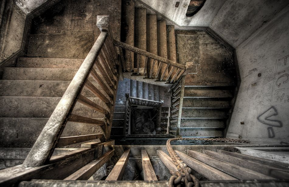 Old staircase in an abandoned administration building in San Francisco, California