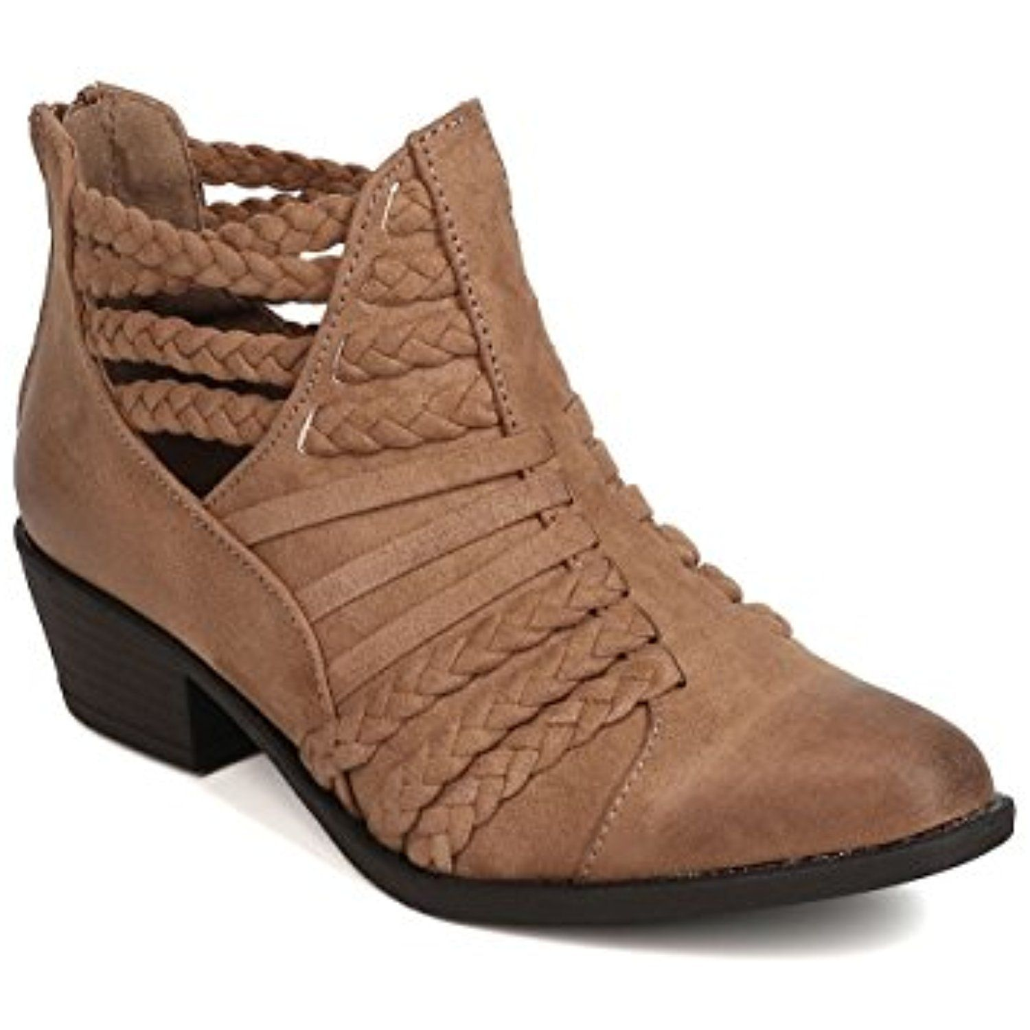 FH07 Women Faux Suede Pointy Toe Braided Cut Out Bootie - Taupe
