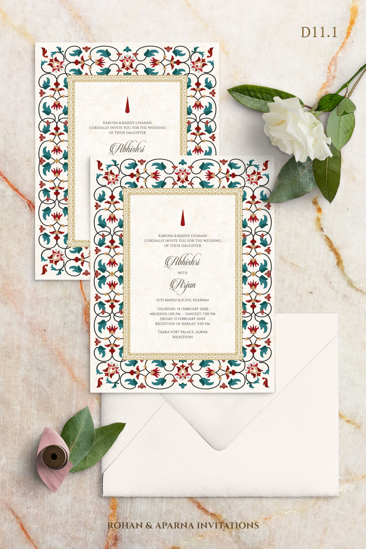 Mughal inlay work inspired wedding invitation concept. For