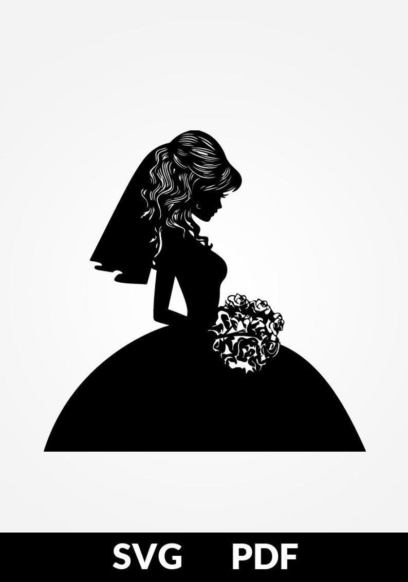 Svg Pdf Papercutting Template Bride Cake Topper Etsy Arte Camisetas Tarjetas