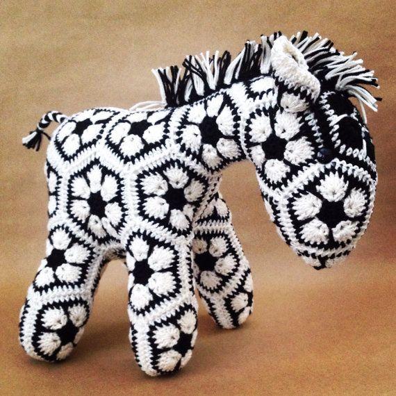 Custom Handmade African Flower Crochet Horse by Lineandloops ...
