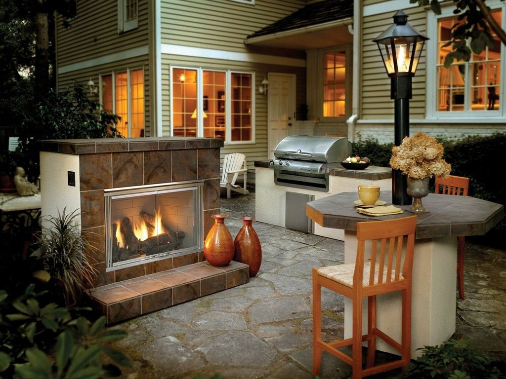 Simple Outdoor Kitchen And Bar Area Idea Also Contemporary Natural Gas  Fireplace Plus Flagstone Floor Stunning Natural Gas Fireplace Creating  Classic Nuance ...