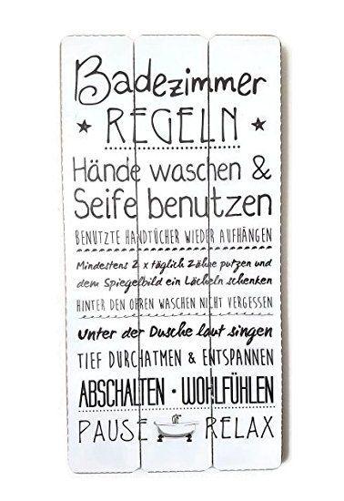 Bada Bing Plankenschild Badezimmer Regeln Holzschild Vintage Badezimmer Regeln Wandbild Holz Badezimmer
