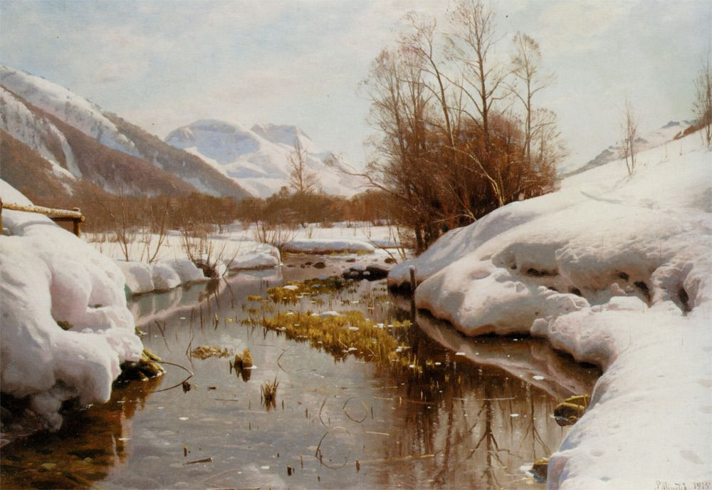 "Peder Mork Monsted (Peder Mork Mønsted)    Snedaekket Flodbred  -1915 Oil On Canvas 58 x 41 cm (22.83"" x 16.14"") Private collection"