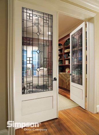 Decorative Glass French Doors Define This Home Office