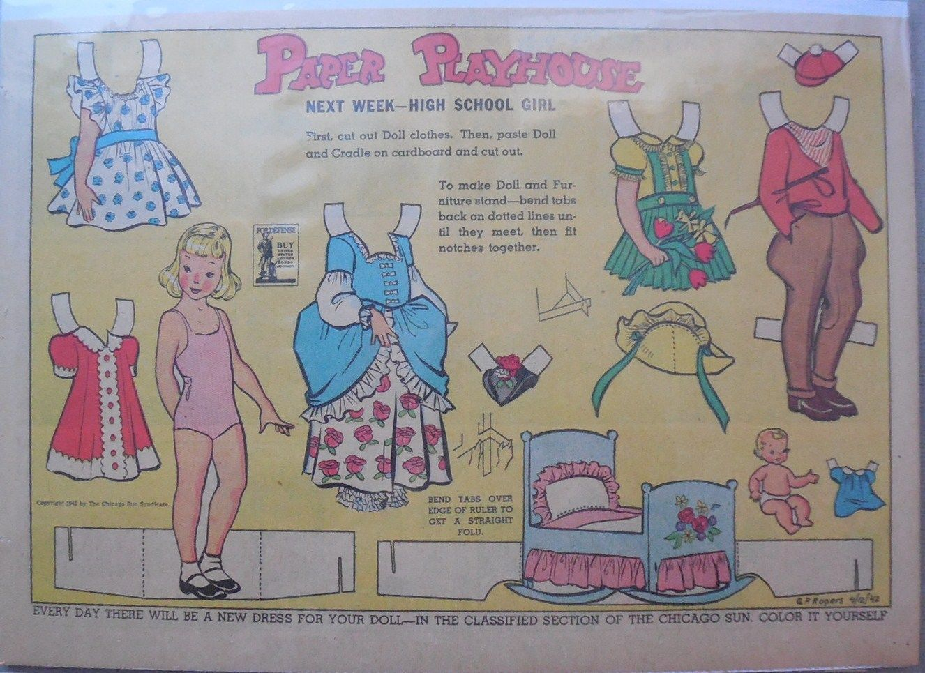Paper Playhouse. From the. The Chicago Sun ! Large Uncut