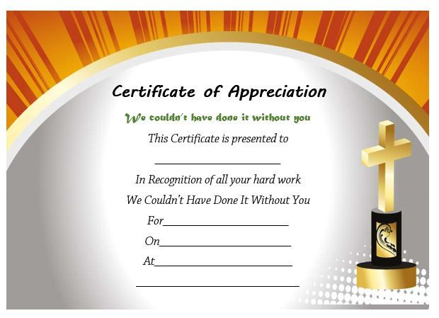 Pastor Appreciation Certificate Template Free  Free Appreciation Certificate Templates