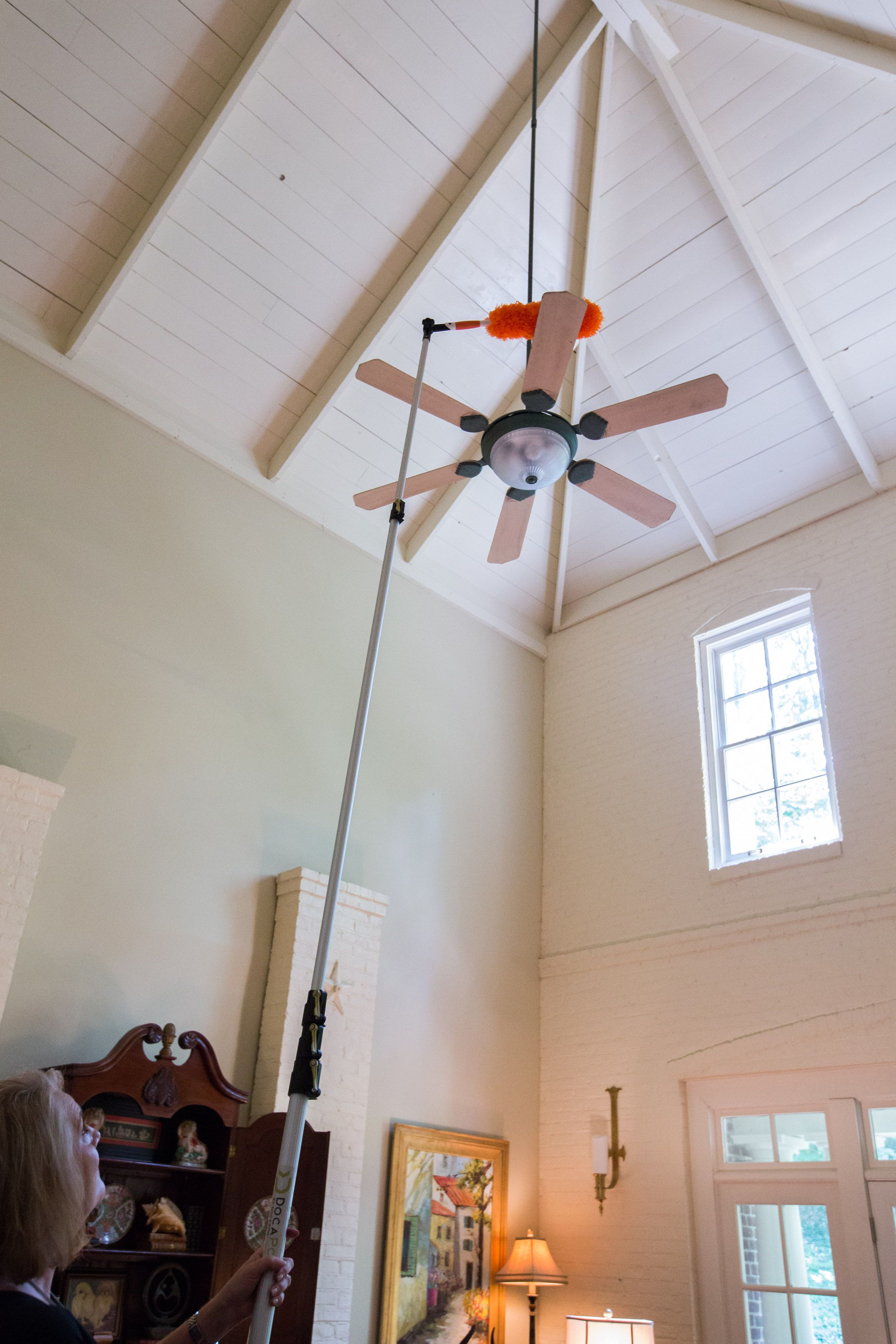 Clean The Highest Places In Your House Using An Extension Pole With Interchangeable Attachments With Images Ceiling Fan Extension Pole High Ceiling