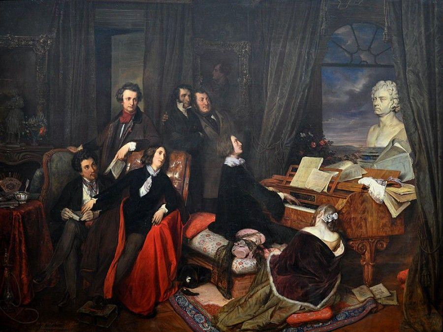 Idelizovaná predstava od Danhausera: za klavírom sedí Franz Liszt, okolo ktorého sú Alexander Dumas, Alfred de Musset, George Sand, Hector Berlioz, Victor Hugo, Nicolo Paganini a Gioachino Rossini.