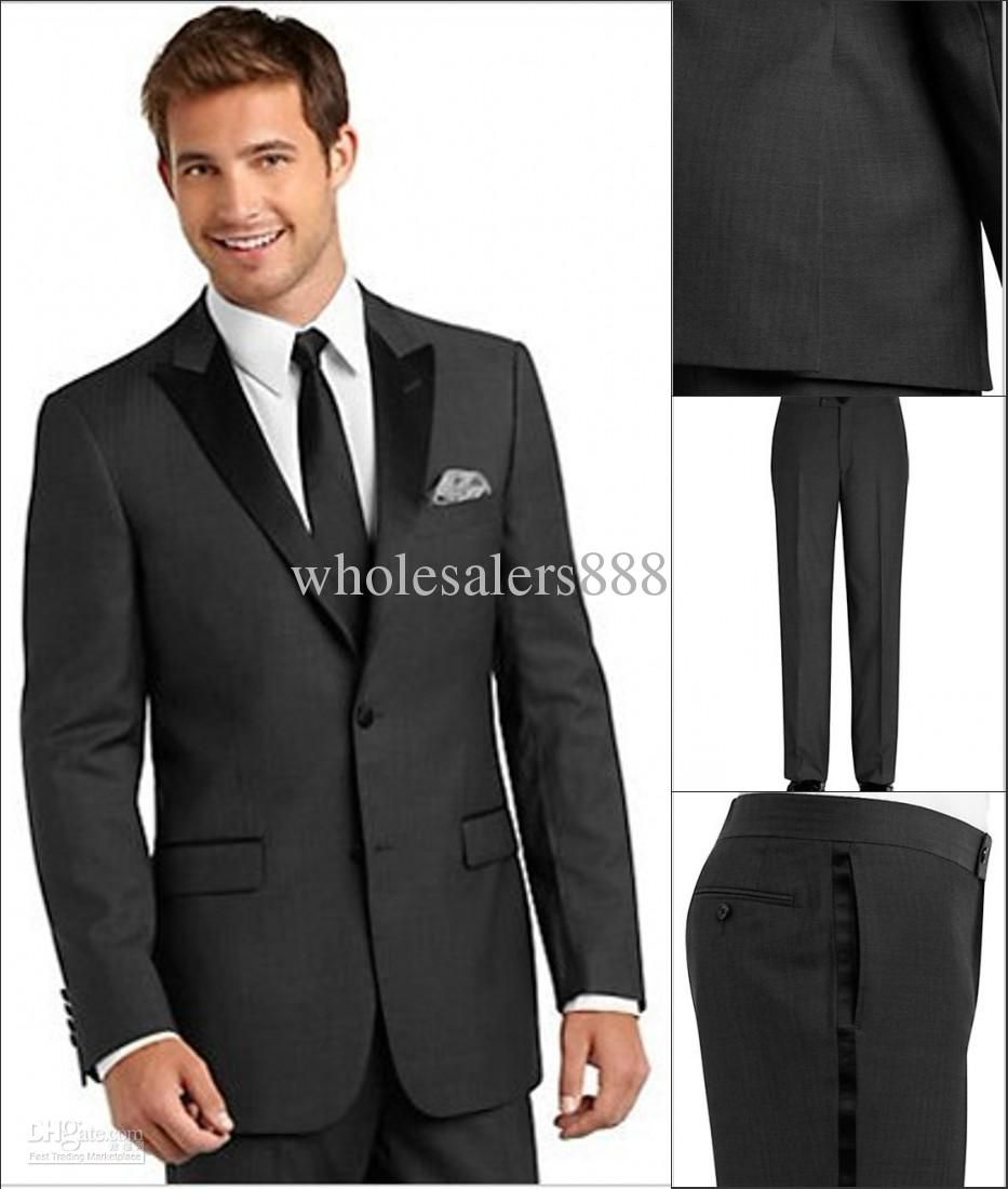 Tallia Charcoal Gray Herringbone Slim Fit Tuxedo - Tuxedos from  MensWearhouse. These colors, but could be a suit not a tux.