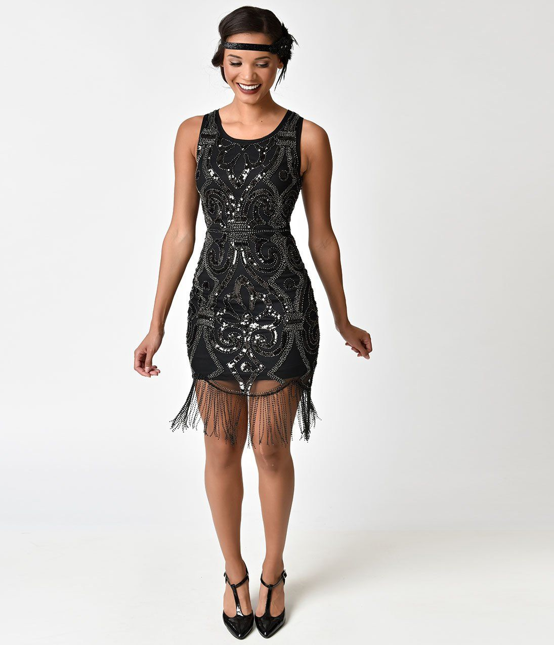 S style black sequin u gunmetal beaded fringe cocktail dress in