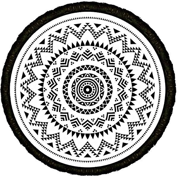 Round Microfiber Printed Turkish Towel 150 cm Diameter 4 cm Fringe